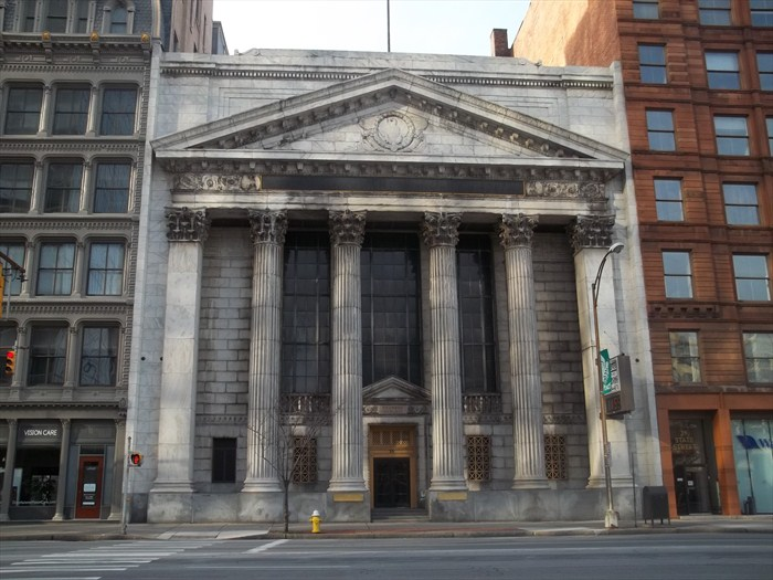 The former First National Bank will be converted into 'Forest Theater' for Greentopia Film. [PHOTO: Waymarking.com]