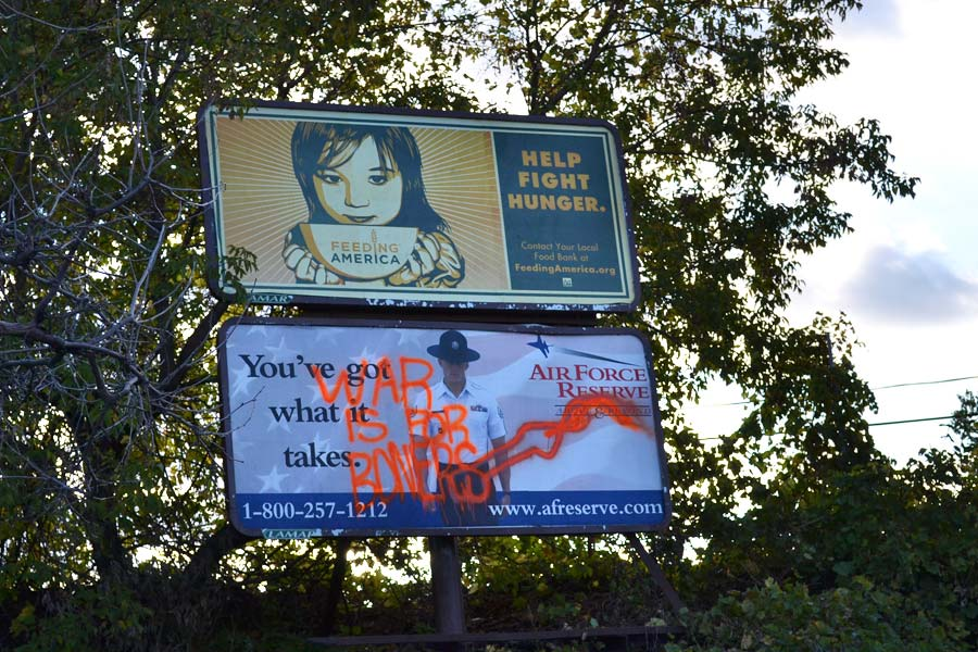 Art is often politically charged. Or risqué. Or both. This billboard was taken down last week.