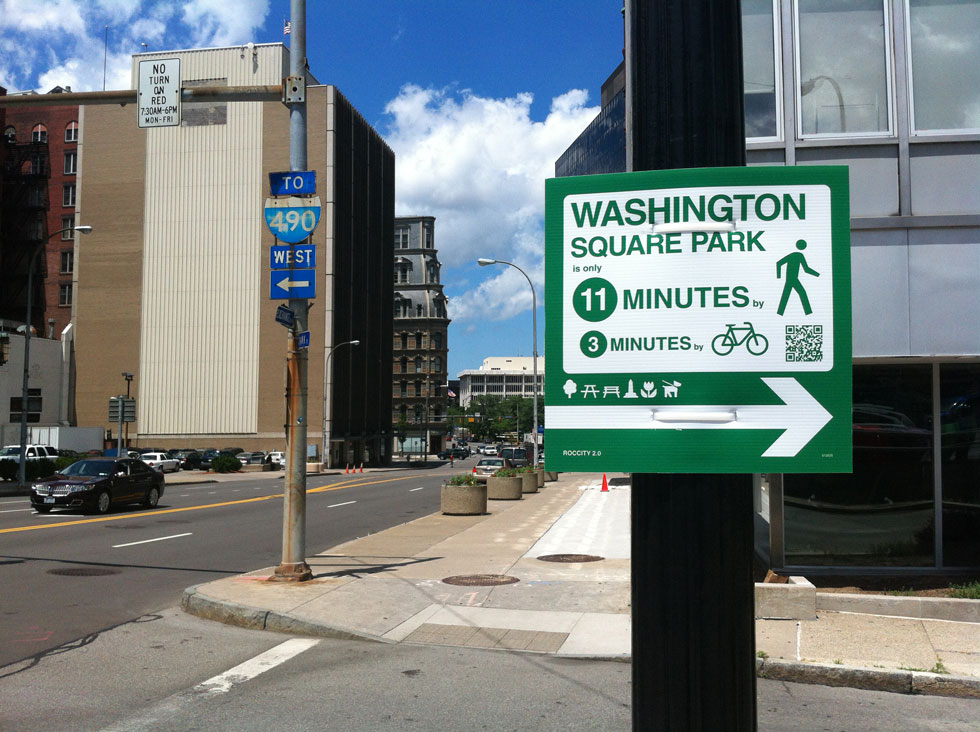 Here's one of those wayfinding signs spotted on Exchange Street downtown on June 22. [PHOTO: Scott Wolf]