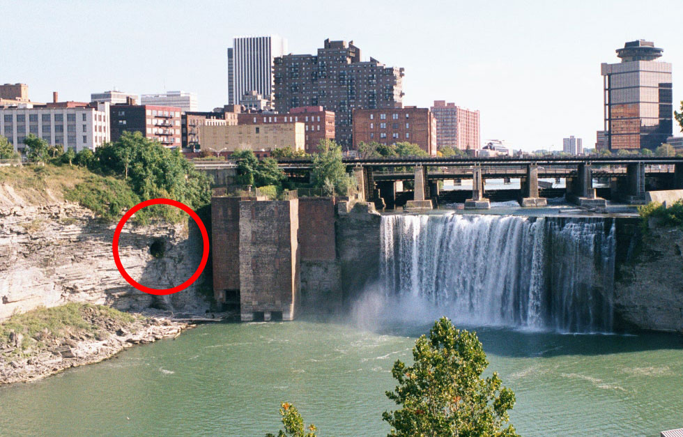 Mysterious cave next to High Falls. [PHOTO: storagelocations.com]