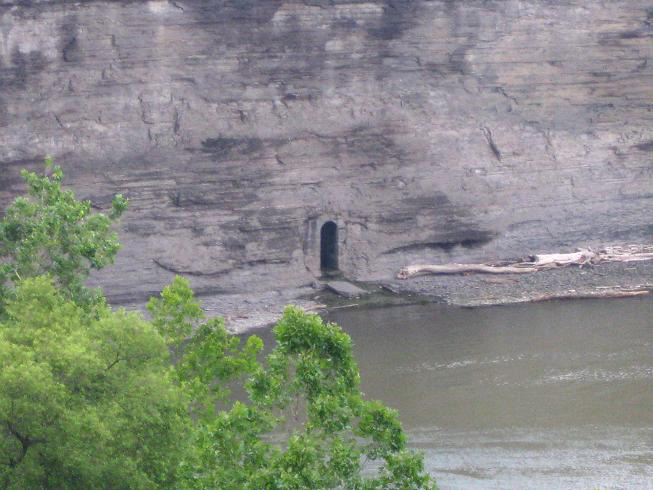 This little doorway in the eastern wall of the High Falls gorge is definitely not natural. [FLICKr PHOTO: jde75]
