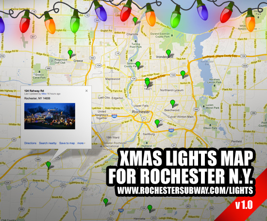 Use this Google map of the best Christmas/holiday light displays in Rochester, NY. You can add your own favorites to it.