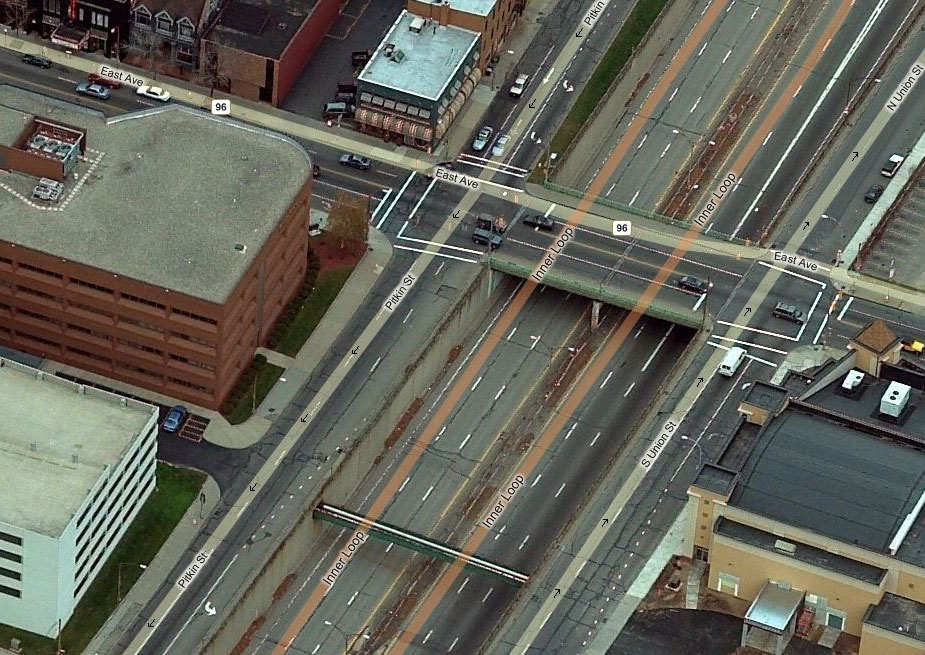 An aerial view of Rochester's crumbling and under-utilized Inner Loop.