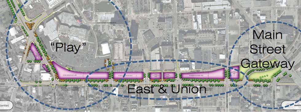 The presentation also applies themes to the different sections of Union Street. [IMAGE: Stantec / City of Rochester]
