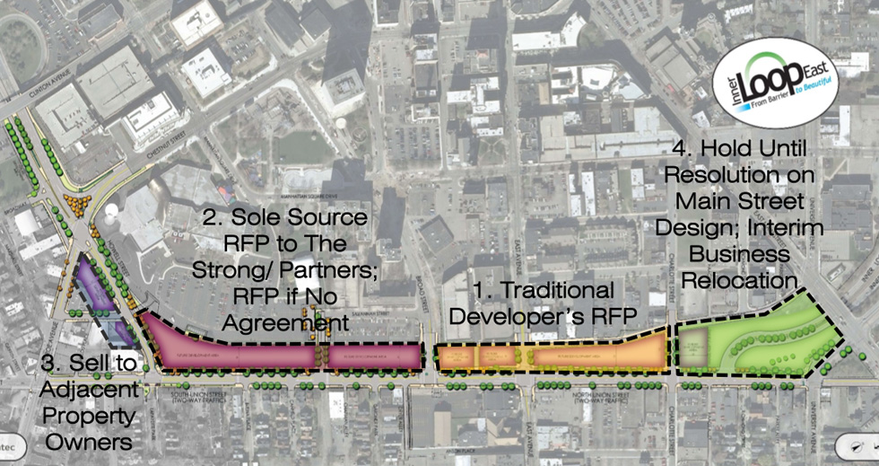 The City must understand the limitations and the potential for each section of land before it seeks proposals from developers. This is the reason for the study. [IMAGE: Stantec / City of Rochester]