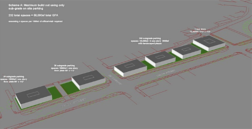 The City wants to avoid having this valuable land turned into surface parking lots. So planners explored a variety of possible building/parking configurations. [IMAGE: Stantec / City of Rochester]