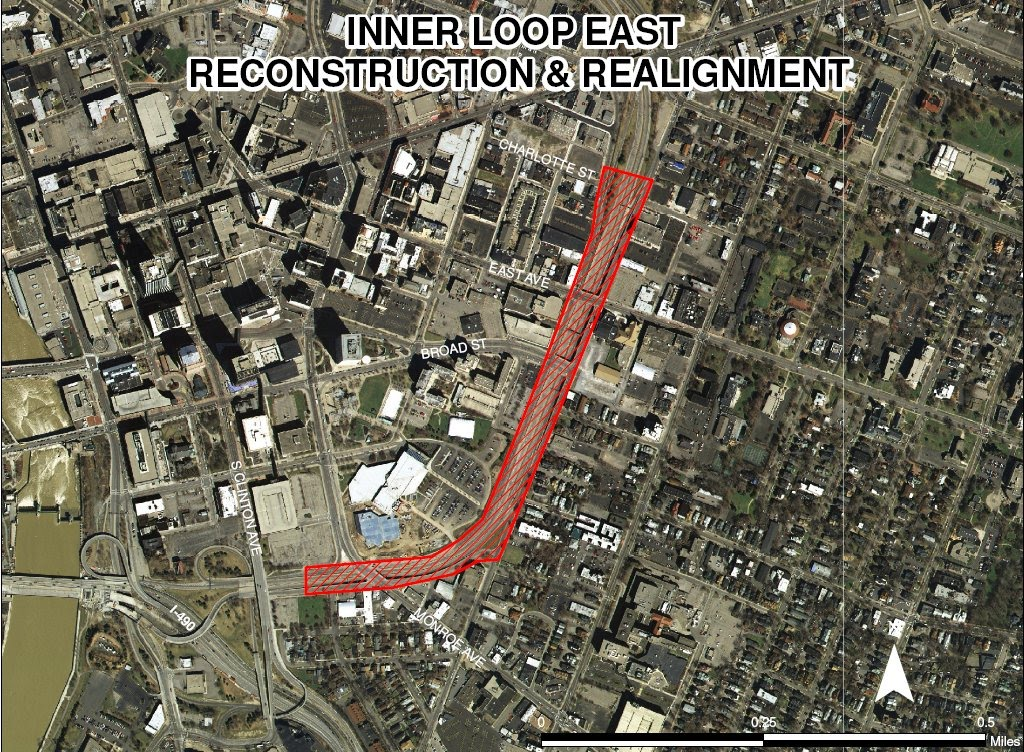 Rochester Inner Loop Reconstruction Project satellite view.
