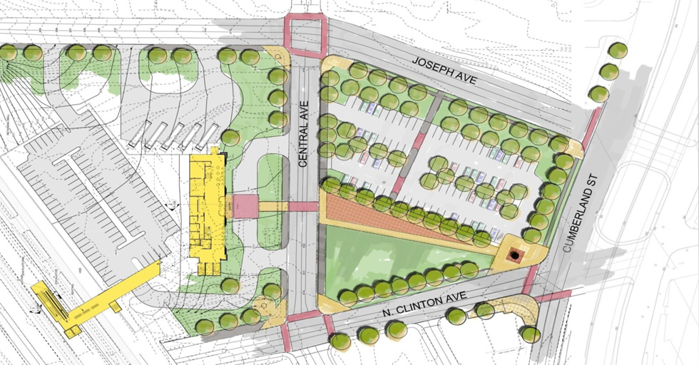 In this expanded site plan, vehicles would enter and exit the overflow parking lot from Central Avenue. Not ideal since most pedestrian activity will be on Central Avenue.