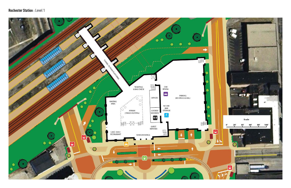 Plan view of facility (street level), Amtrak platforms, and tunnel.