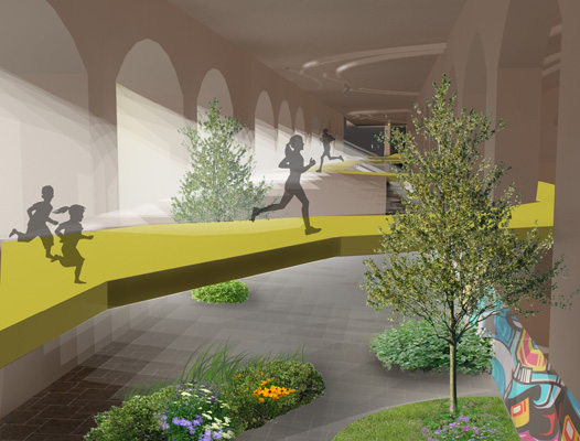 Nine RIT students collaborated to design a subterranean urban park inside the old Rochester subway called the ROC Low Line. [RENDERING: RocLowLine.com]