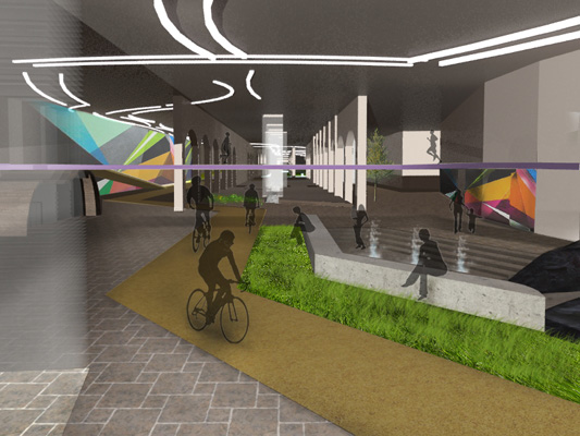 Paths running through the tunnel offer chances to run and bike, while pull-off areas provide a variety of playful spaces. [RENDERING: RocLowLine.com]