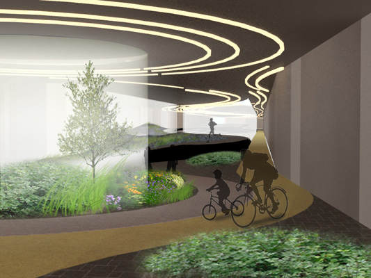 The forest is a 1/4 mile promenade lined with sprouting columns. Upon exiting the forest, visitors encounter mossy boulders and elevated grassy patches where they can relax and take in the scenery. [RENDERING: RocLowLine.com]