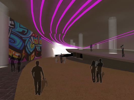 LED lights would change color to coincide with the seasonal holidays and special events. Micro-hydropower generators would be installed in the raceways to generate the power for the lights. [RENDERING: RocLowLine.com]