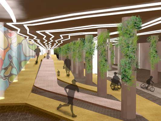 Over the length of the tunnel, the greenery evolves and transforms into various gardens representing different ecosystems... wetlands, forests, mountains, etc. [RENDERING: RocLowLine.com]