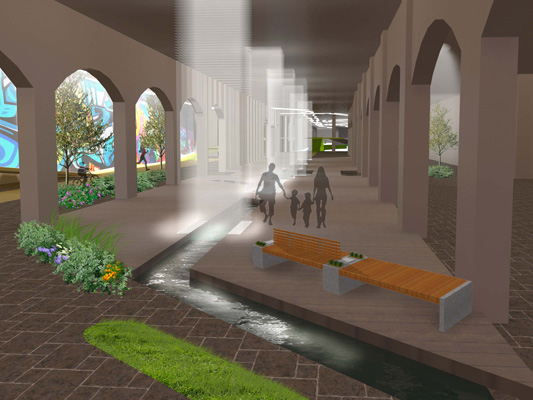 Inside the tunnel the park design includes several water features for visitors to enjoy. [RENDERING: RocLowLine.com]