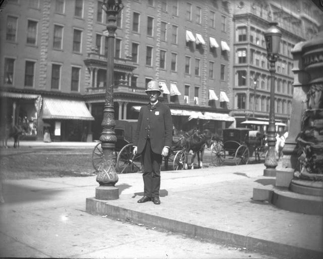 Rochester's Cogswell fountain disappeared in 1885. The NY Times says it was bandits. I wonder if this keystone cop saw anything.  [PHOTO: Rochester Public Library]