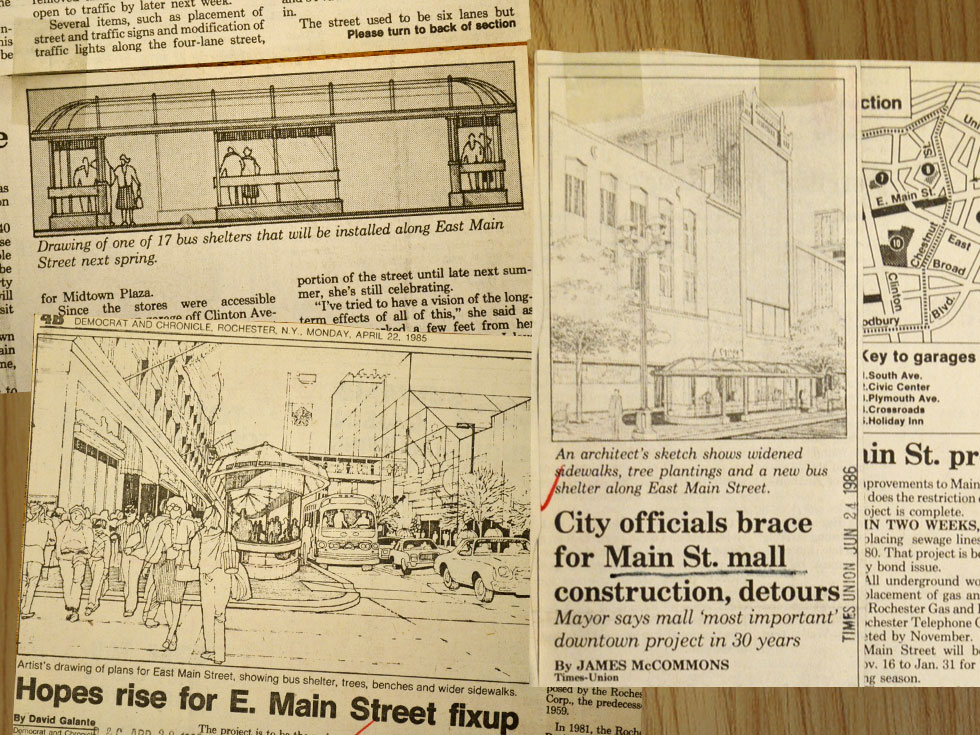 These Main Street shelters were designed by the firm Johnson, Johnson and Roy (Detroit) as part of the Main Street Improvement Project c.1986-1989. [IMAGES: Democrat and Chronicle, and Rochester Times Union]