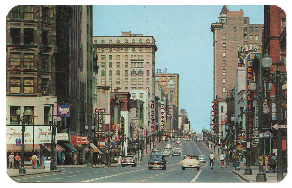 Main Street Rochester. c.1955-1960 [PHOTO: RochesterSubway.com Vintage Postcard Collection]