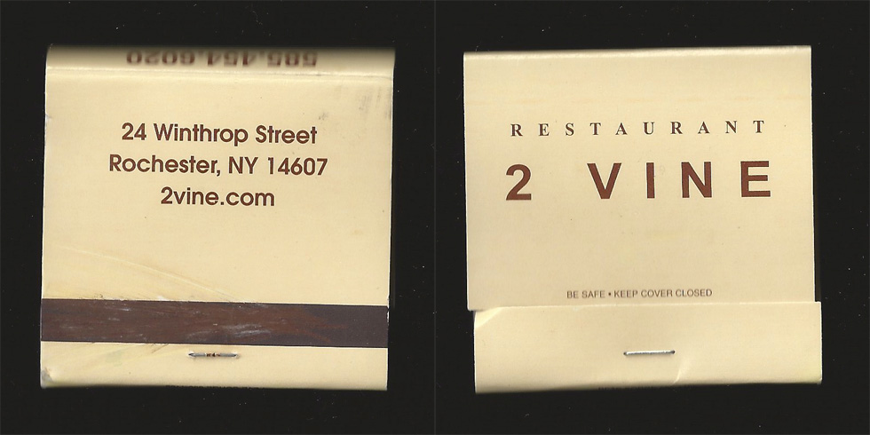 2 Vine matchbook.