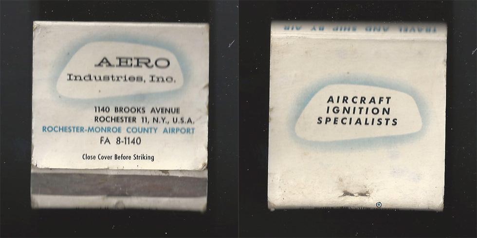 Aero Industries matchbook.