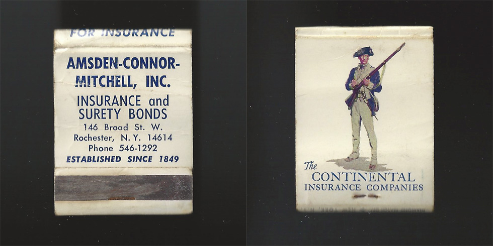 Amsden Mitchell Insurance matchbook.