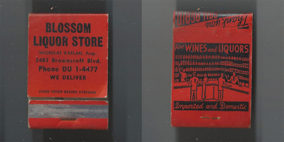 Blossom Liquor Store matchbook.