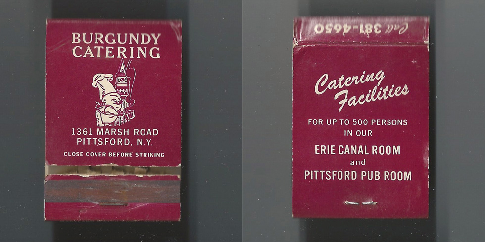 Burgundy Catering matchbook.