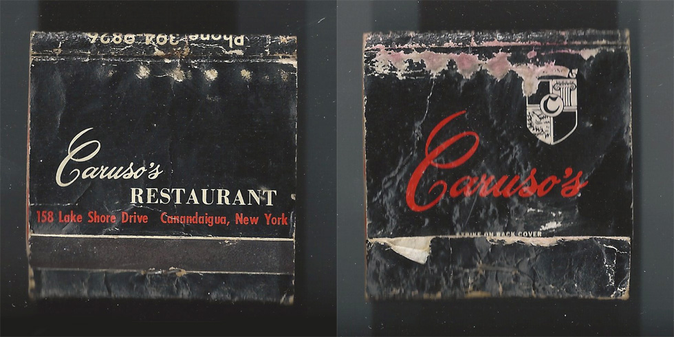 Caruso's Restaurant matchbook.