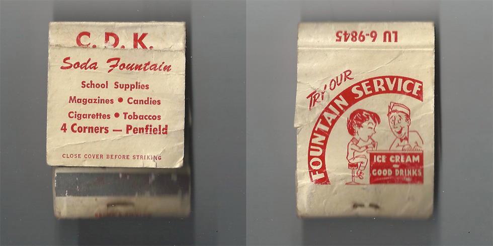 C.D.K. Soda Fountain matchbook.