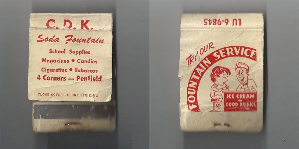 C.D.K. Soda Fountain matchbook.
