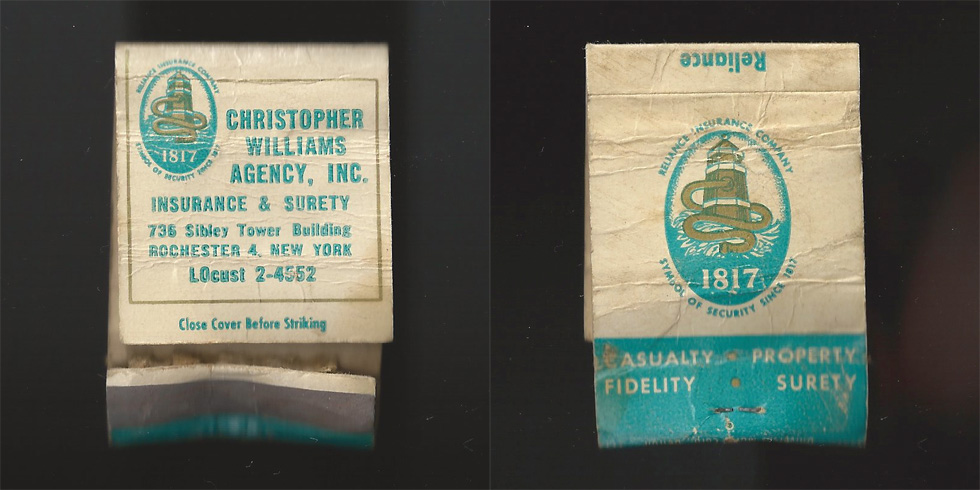 Christopher Williams Agency matchbook.