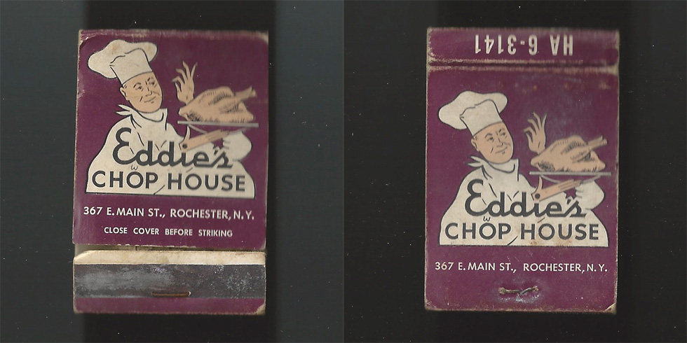 Eddie's Chop House matchbook.