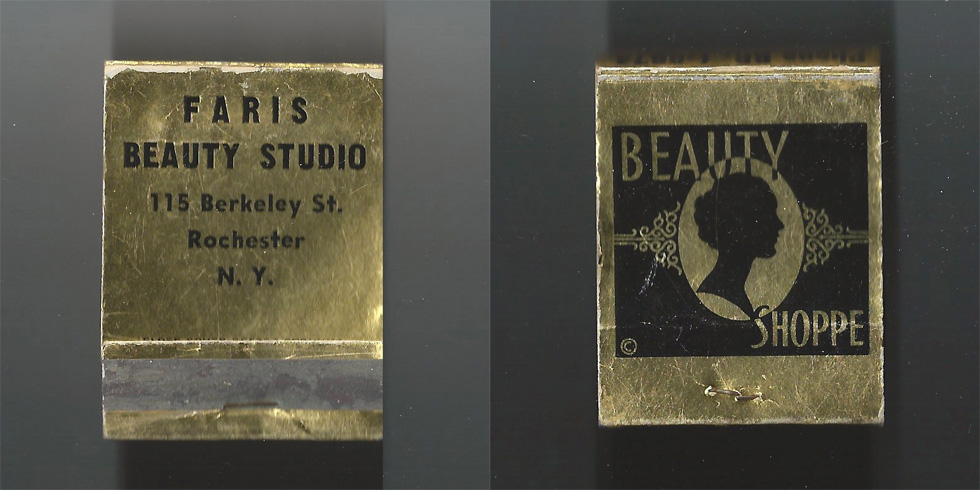 Faris Beauty Studio matchbook.