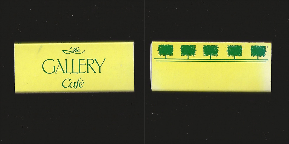 The Gallery Cafe matchbox.