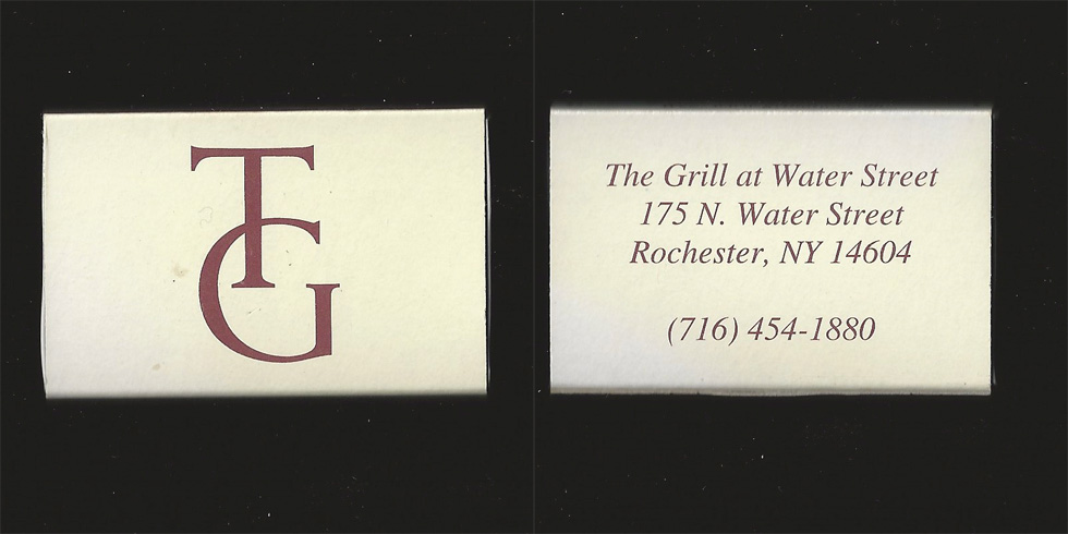 The Grill at Water Street matchbox.