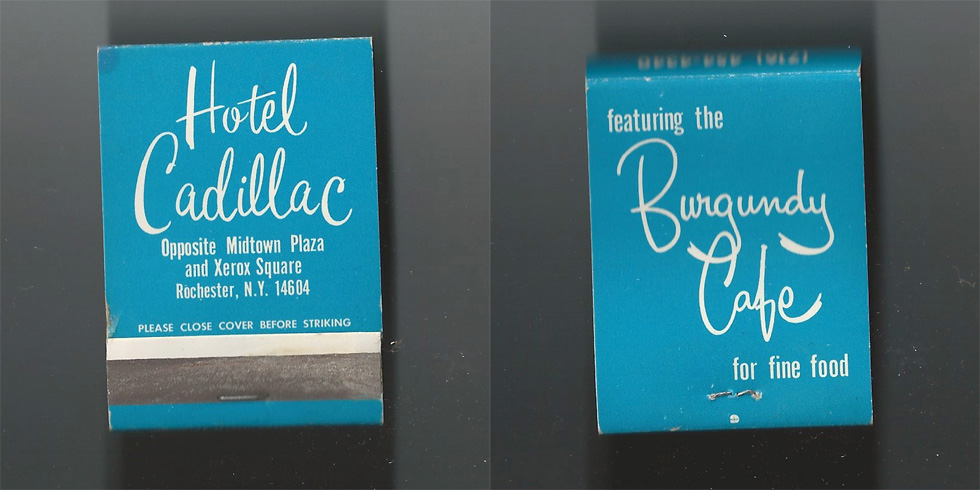 Hotel Cadillac matchbook.