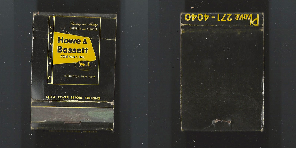 Howe & Bassett matchbook.