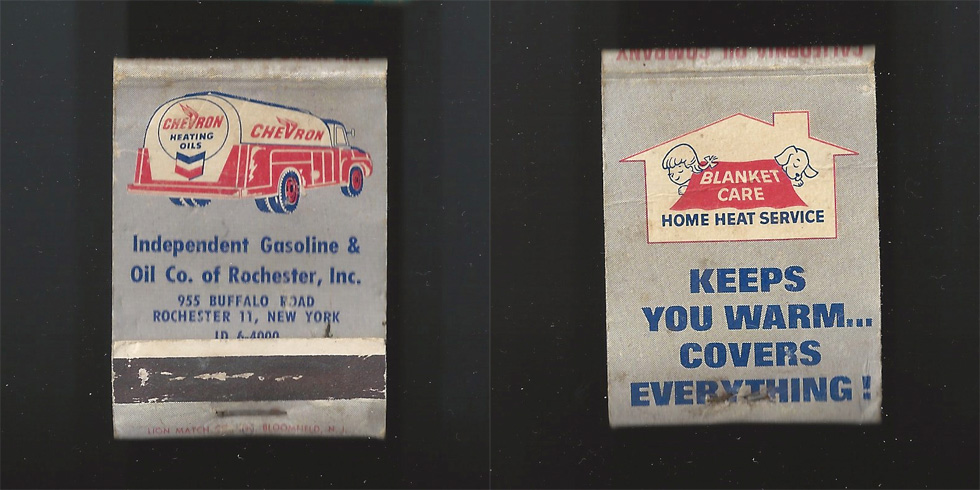 Independent Gasoline & Oil Co. of Rochester matchbook.