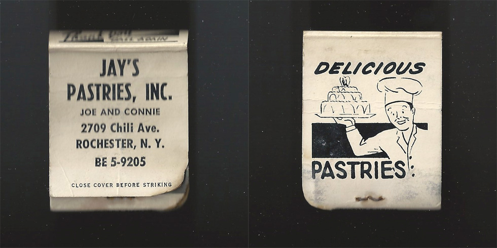 Jay's Pastries matchbook.