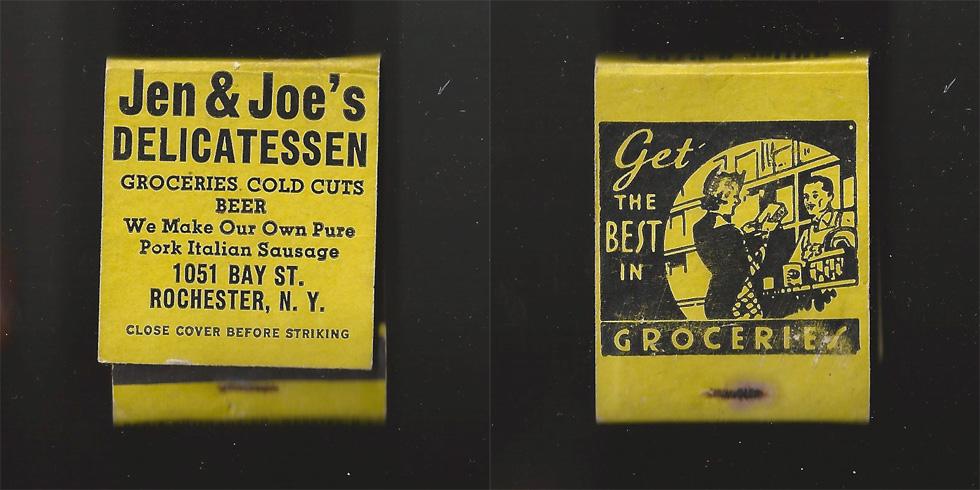 Jen & Joe's Delicatessen matchbook.