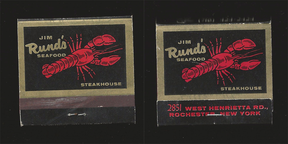 Jim Rund's Seafood matchbook.