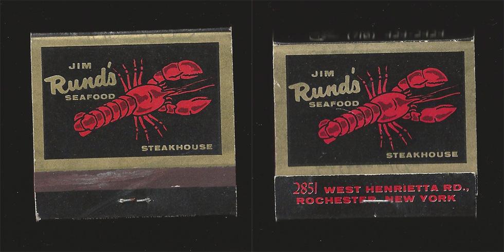 Jim Rund's Seafood matchbook.