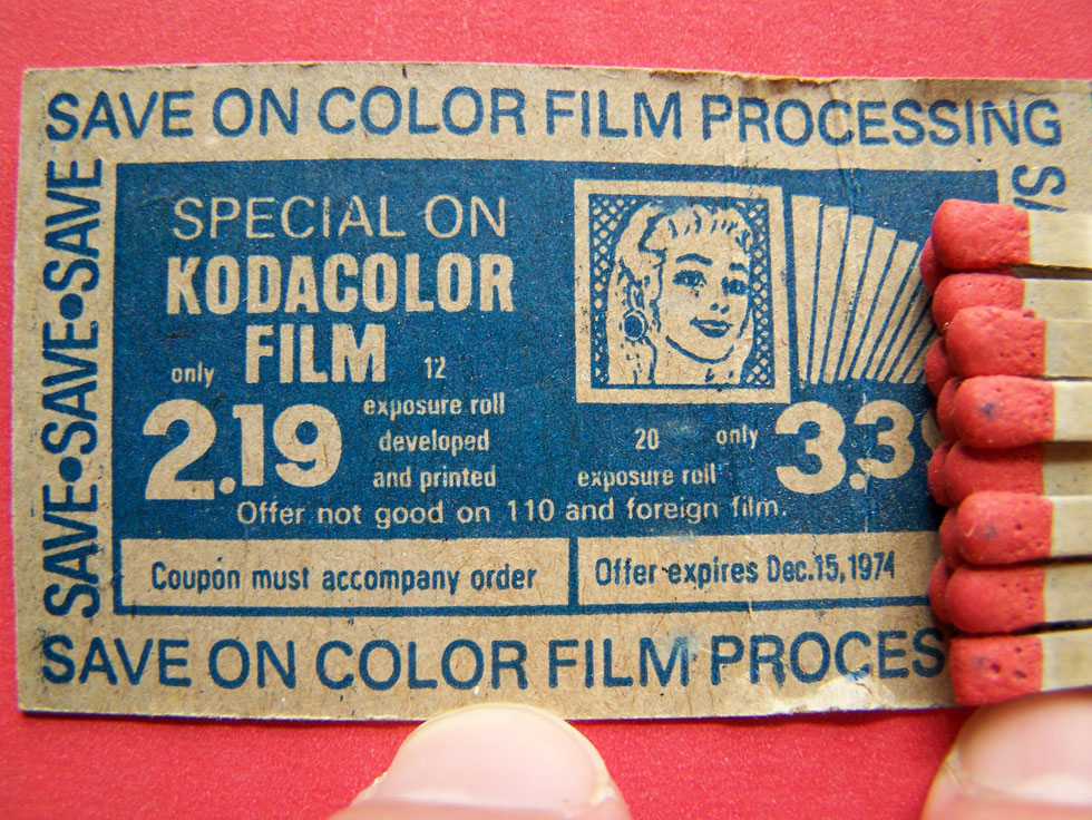 An ad for Kodacolor Film Processing inside a PG Drugstore matchbook.