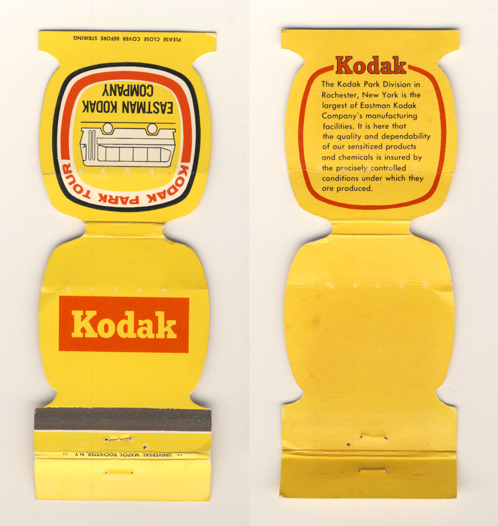 Kodak Park Tour matchbook.