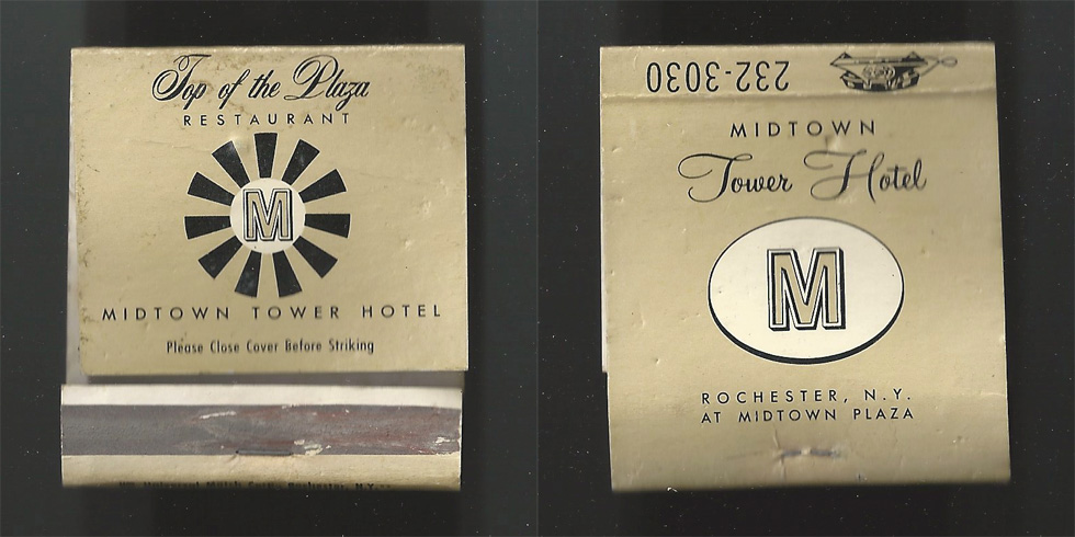 Midtown Plaza Hotel: Top of the Plaza Restaurant matchbook.