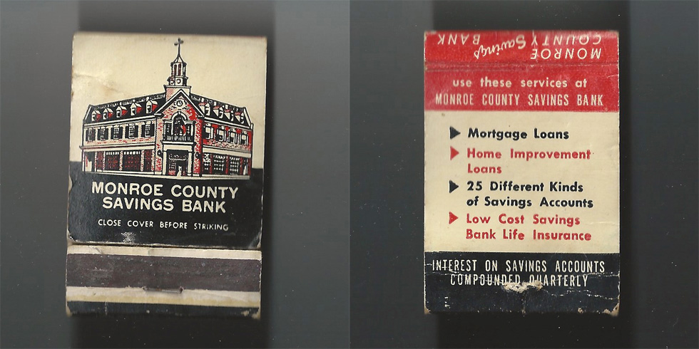 Monroe County Savings Bank matchbook.