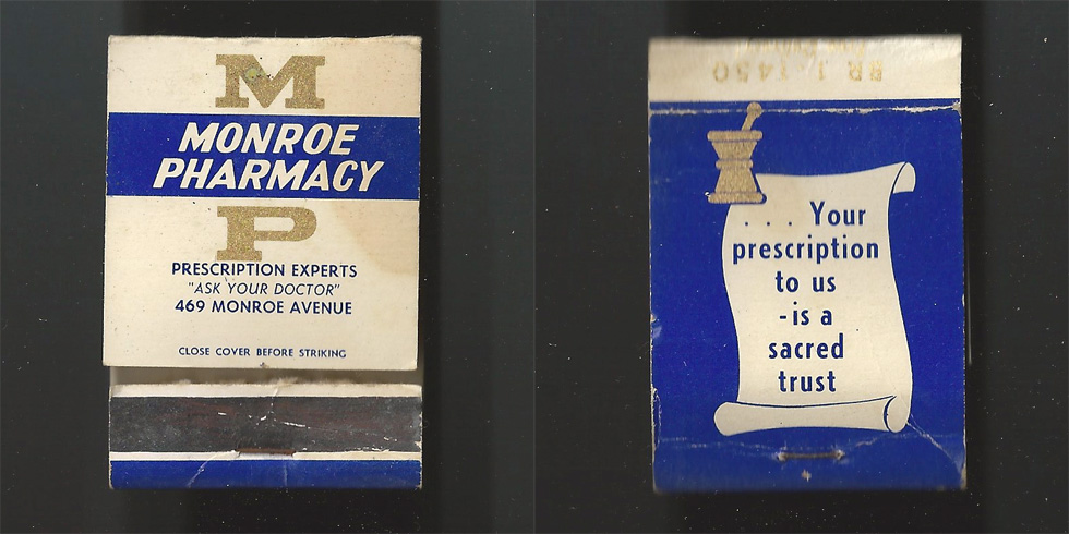 Monroe Pharmacy matchbook.