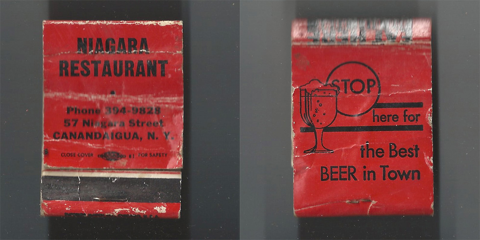 Niagara Restaurant matchbook.