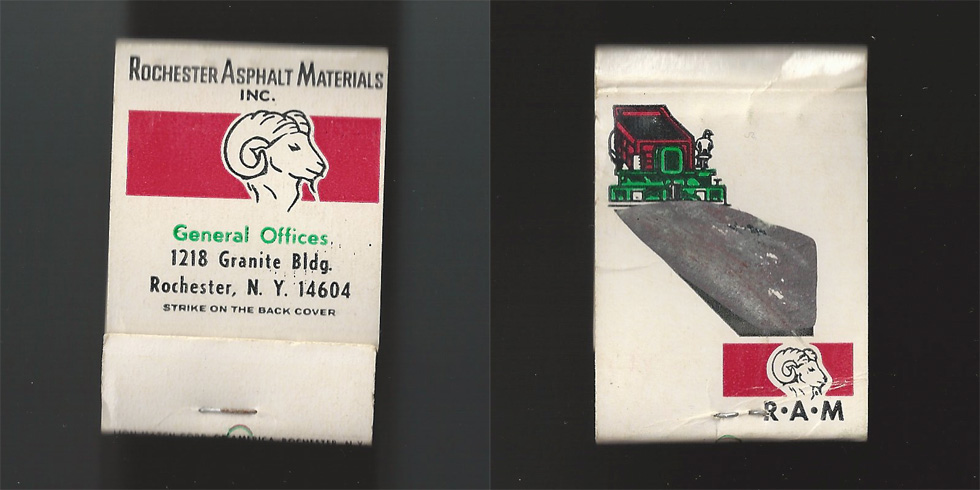 Rochester Asphalt Materials Inc. matchbook.