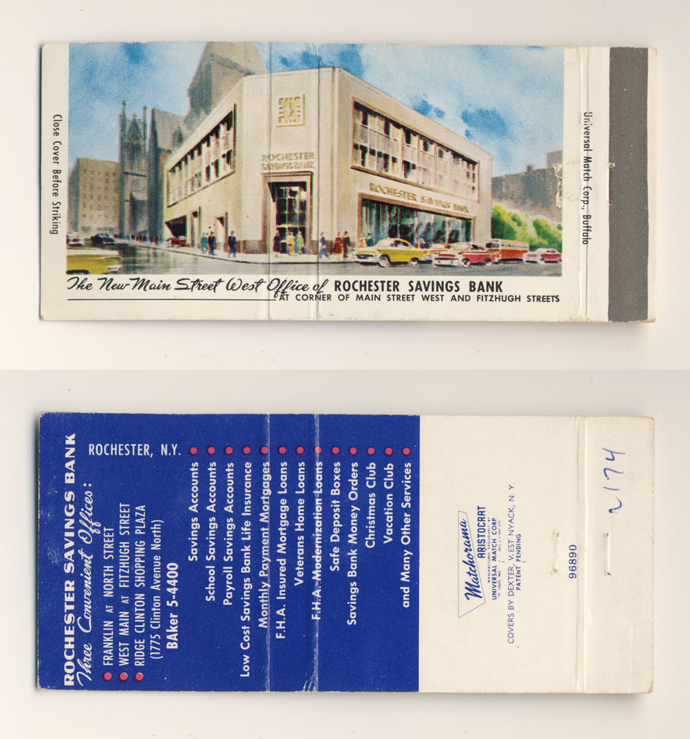 Rochester Savings Bank matchbook.